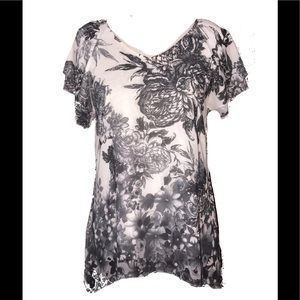 Brittany Black Gray & Ivory Blouse Top. NWT Large